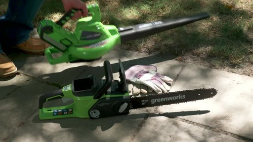 GreenWorks 40V LithiumIon Brushless Cordless Leaf Blower Vac - image 5 from the video