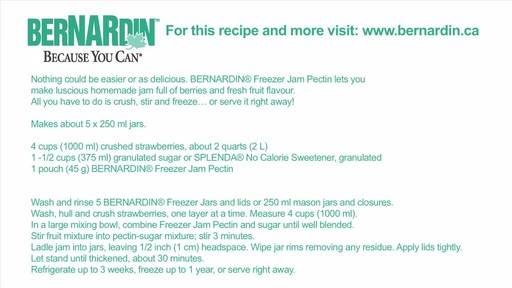 Freezer Jam - Bernardin - image 10 from the video