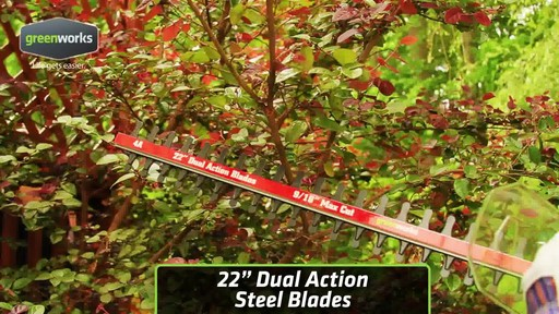 Greenworks 4A Electric Hedge Trimmer - image 3 from the video