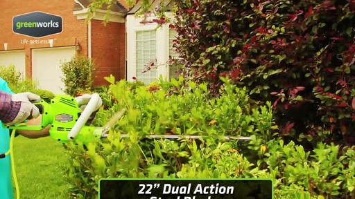 Greenworks 4A Electric Hedge Trimmer - image 4 from the video