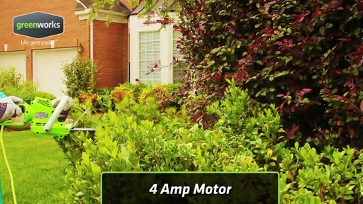 Greenworks 4A Electric Hedge Trimmer - image 5 from the video