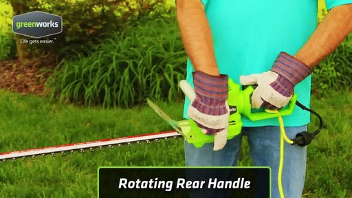 Greenworks 4A Electric Hedge Trimmer - image 7 from the video