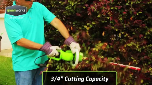 Greenworks 4A Electric Hedge Trimmer - image 8 from the video