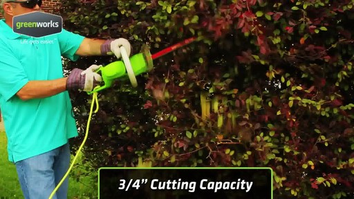Greenworks 4A Electric Hedge Trimmer - image 9 from the video