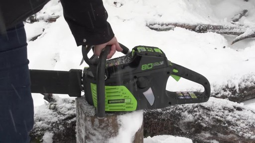 Greenworks 80V Cordless Chainsaw - Arlene's Testimonial - image 5 from the video