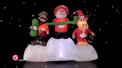 Pre-Lit Olympic Moose/Snowman Scene Inflatable, 6-ft - image 2 from the video