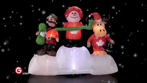 Pre-Lit Olympic Moose/Snowman Scene Inflatable, 6-ft - image 3 from the video