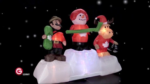 Pre-Lit Olympic Moose/Snowman Scene Inflatable, 6-ft - image 4 from the video