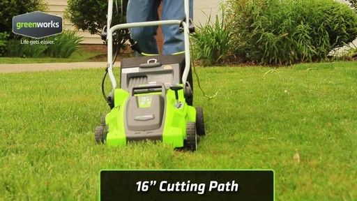 Greenworks 10 A 16-in Electric Lawn Mower - image 5 from the video