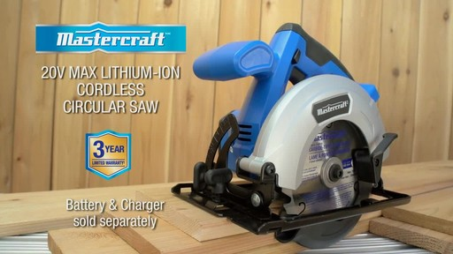 The Mastercraft 20-volt Lithium-Ion Cordless Circular Saw - image 10 from the video
