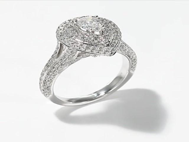 Neil Lane Pear Shape Ring 1 3 4 ct tw Diamonds 14K White Gold Wedding Rings