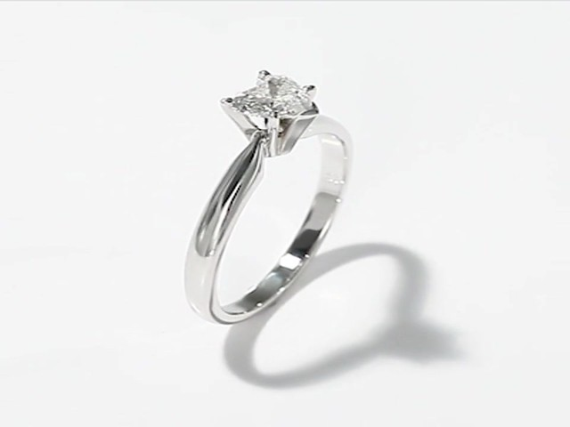 Diamond Solitaire Ring 1 2 carat Heart Shaped 14K White Gold Wedding Rings