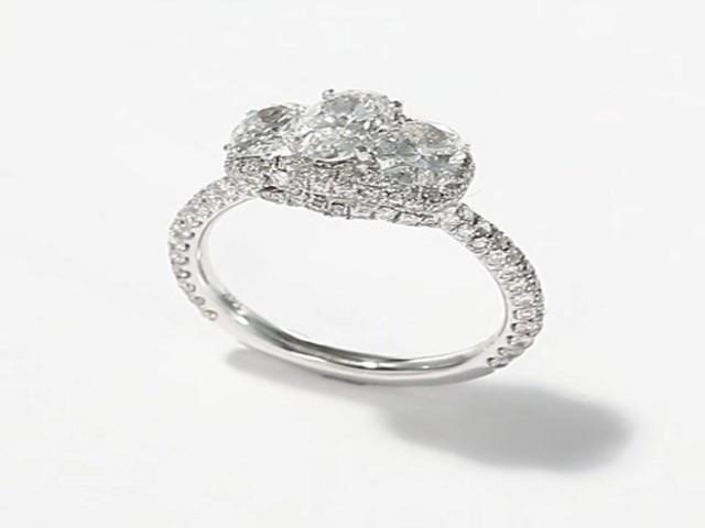 Neil Lane 3 Stone Ring 2 1 3 ct tw Diamonds 14K White Gold Wedding Rings W