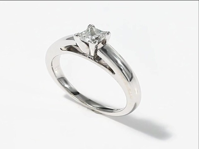 Diamond Solitaire Ring 5 8 carat Princess cut 14K White Gold Engagement Rin