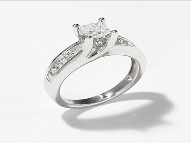 Diamond Engagement Ring|2 ct tw Princess-cut|14K White Gold - image 1 ...