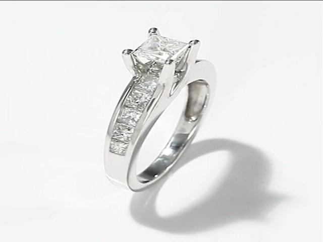 Diamond Engagement Ring|2 ct tw Princess-cut|14K White Gold - image 2 ...