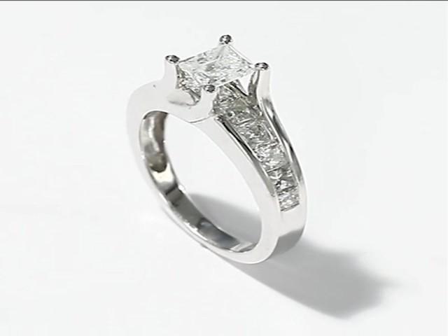 Diamond Engagement Ring 2 ct tw Princess cut 14K White Gold Engagement Ring