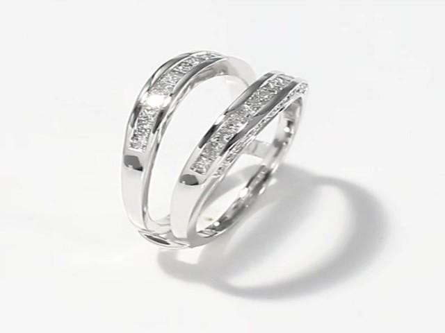 enhancer ring 3 4 ct tw princess cut 14k white