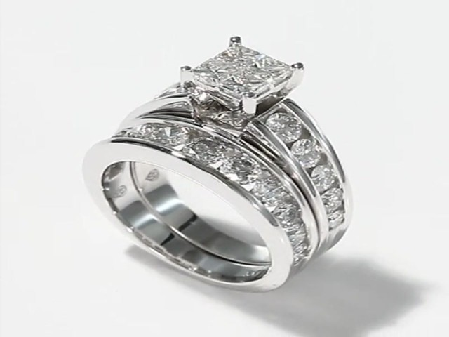 Diamond Bridal Set 3 ct tw 14K White Gold Engagement Rings Wedding Rings