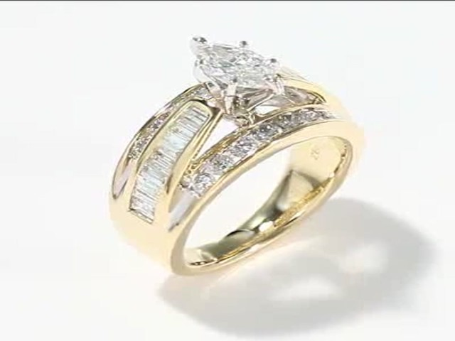 engagement ring 2 ct tw marquise cut 14k yellow