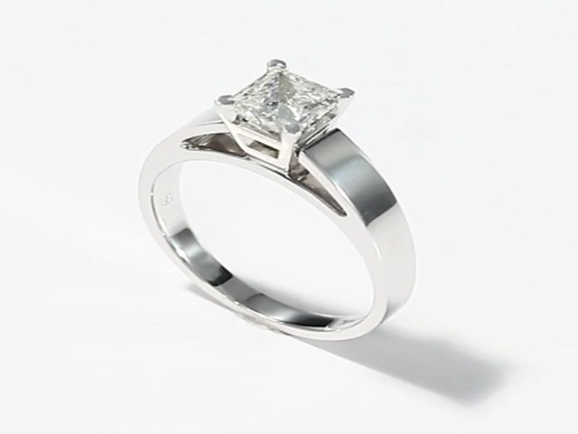 Diamond Solitaire Ring|1 carat Princess-cut |14K White Gold - image 10 ...