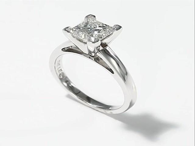 The Leo Diamond 2 Carat Princess cut 14K White Gold Ring Wedding Rings Eng