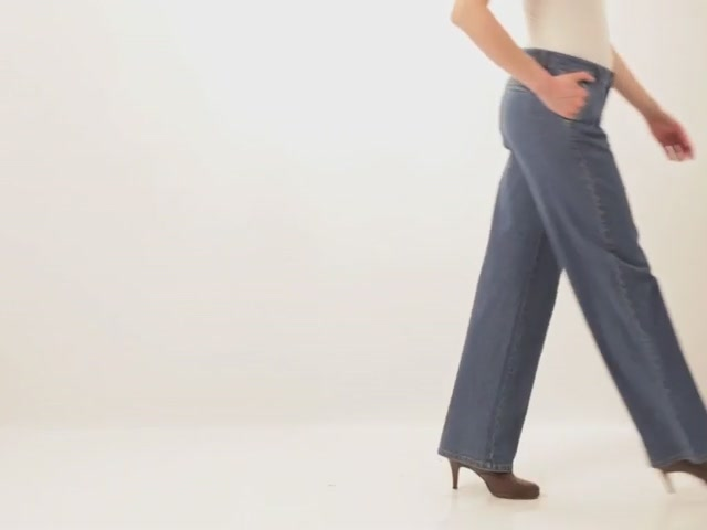 Wide leg stretch jeans - image 10 from the video