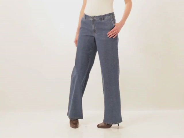 Wide leg stretch jeans - image 2 from the video