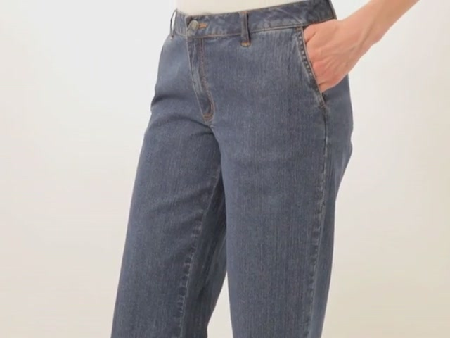 Wide leg stretch jeans - image 5 from the video