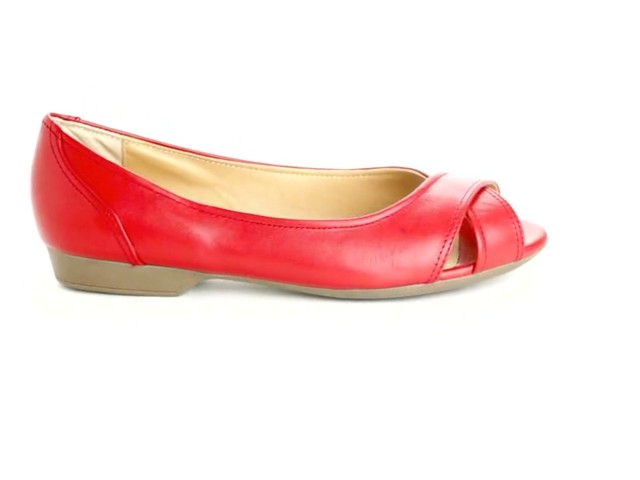 Liah Leather Peep-Toe Flats by Comfortview®  - image 1 from the video