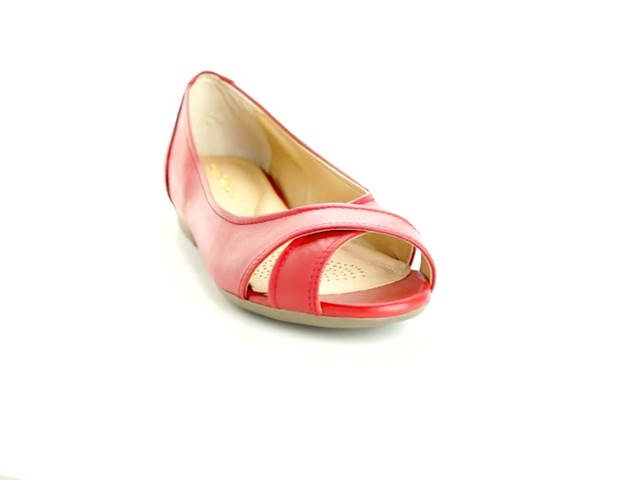 Liah Leather Peep-Toe Flats by Comfortview®  - image 10 from the video
