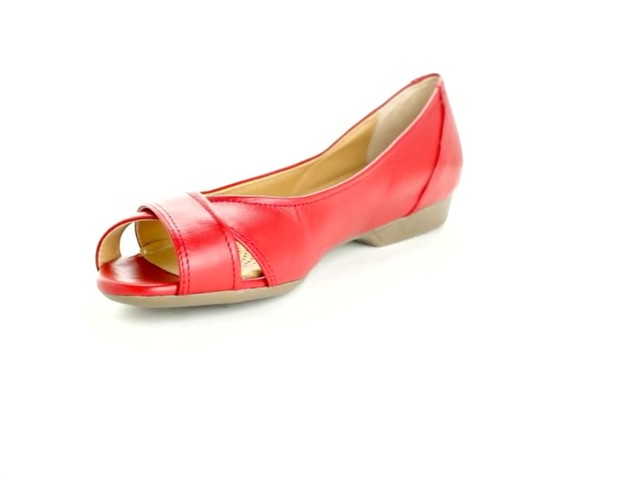 Liah Leather Peep-Toe Flats by Comfortview®  - image 8 from the video