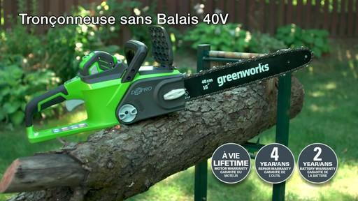 Scie à chaîne sans fil 40 V Greenworks – Témoignage - image 10 from the video