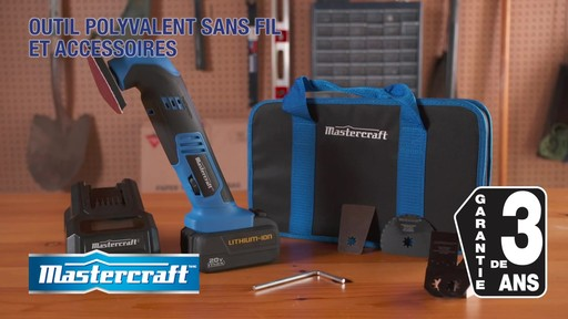 Outil polyvalent Mastercraft 20V Max avec accessoires - image 10 from the video