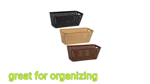 Case Of Essentials Woven Look Plastic Storage Baskets (24 Units)   Image 8