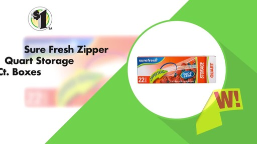 Case of Sure Fresh Zipper Storage Bags, 20-ct. Boxes (48 units) - image 3 from the video