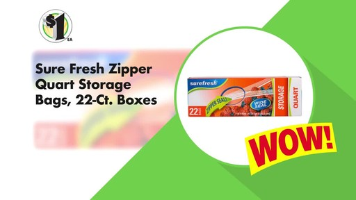 Case of Sure Fresh Zipper Storage Bags, 20-ct. Boxes (48 units) - image 4 from the video