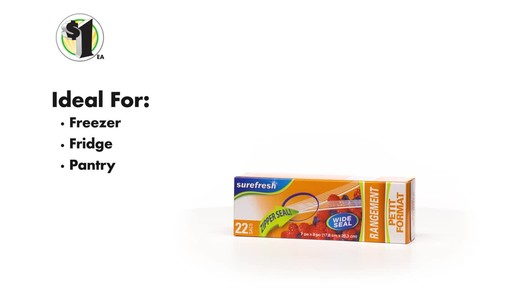 Case of Sure Fresh Zipper Storage Bags, 20-ct. Boxes (48 units) - image 6 from the video