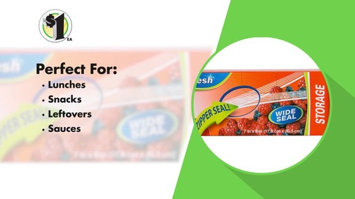 Case of Sure Fresh Zipper Storage Bags, 20-ct. Boxes (48 units) - image 8 from the video