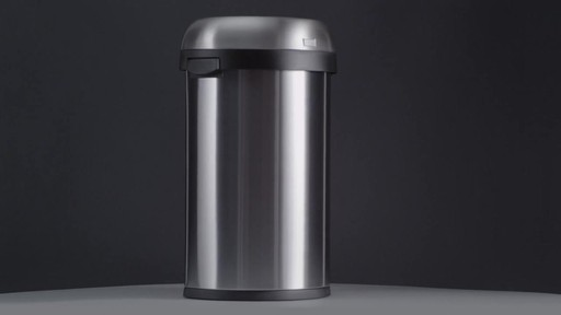 simplehuman® Brushed Stainless Steel Semi-Round 60-Liter Open Trash Can - image 1 from the video