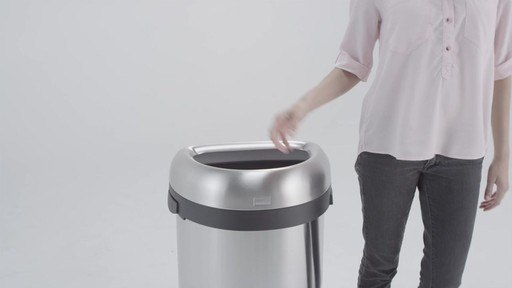 simplehuman® Brushed Stainless Steel Semi-Round 60-Liter Open Trash Can - image 2 from the video