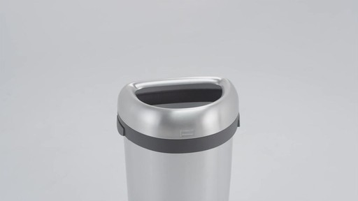 simplehuman® Brushed Stainless Steel Semi-Round 60-Liter Open Trash Can - image 3 from the video