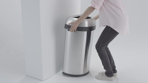 simplehuman® Brushed Stainless Steel Semi-Round 60-Liter Open Trash Can - image 5 from the video