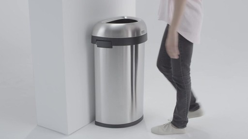 simplehuman® Brushed Stainless Steel Semi-Round 60-Liter Open Trash Can - image 6 from the video