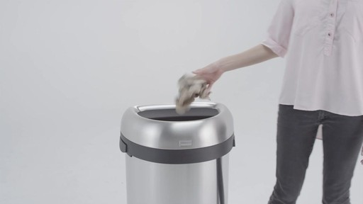 simplehuman® Brushed Stainless Steel Semi-Round 60-Liter Open Trash Can - image 8 from the video