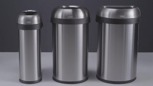 simplehuman® Brushed Stainless Steel Semi-Round 60-Liter Open Trash Can - image 9 from the video