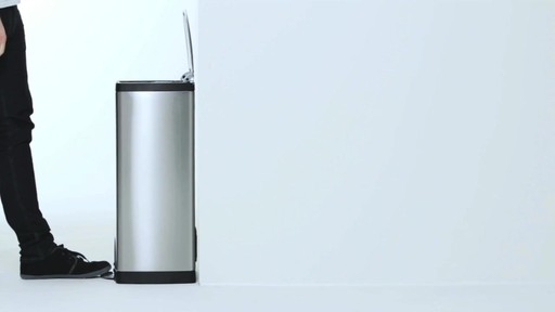 simplehuman® Rectangular Brushed Stainless Steel Step-On Trash Can - image 2 from the video