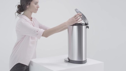 simplehuman® Stainless Steel Semi-Round 10-Liter Step-On Trash Can - image 7 from the video