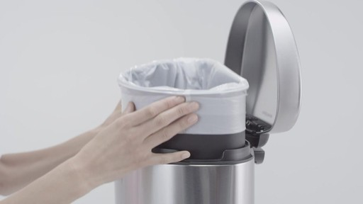 simplehuman® Stainless Steel Semi-Round 10-Liter Step-On Trash Can - image 8 from the video