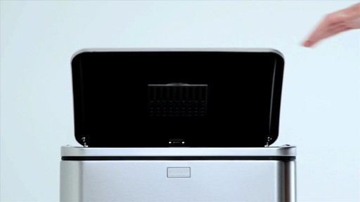 simplehuman® 40-Liter Rectangular Brushed Stainless Steel Sensor Trash Can - image 3 from the video